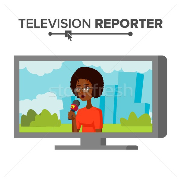 News Reporter Vector. Beautiful Smiling Female Television Reporter. Isolated On White Cartoon Charac Stock photo © pikepicture