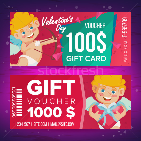 Valentine s Day Gift Voucher Vector. Horizontal Coupon. February 14. Valentine Cupid And Gifts. Shop Stock photo © pikepicture