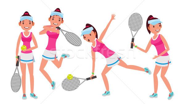 Profi teniszező vektor nyár sport játékosok Stock fotó © pikepicture