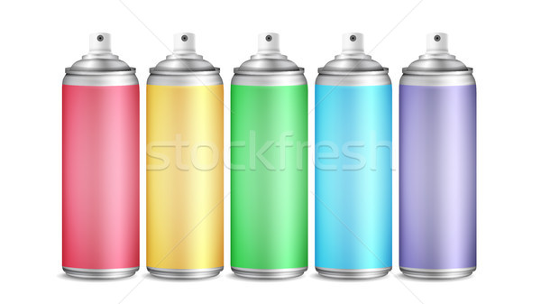 Colorful Spray Can Set Vector. 3D Aluminium Bottles. Paint Aerosol For Street Graffiti. Branding Des Stock photo © pikepicture