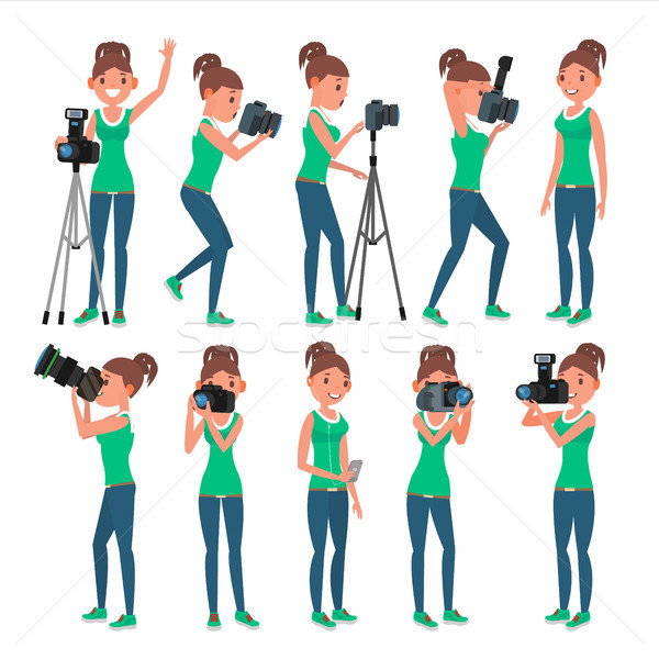 Photographer Woman Vector. hotographer Making Photos. Digital Camera And Professional Photo Equipmen Stock photo © pikepicture