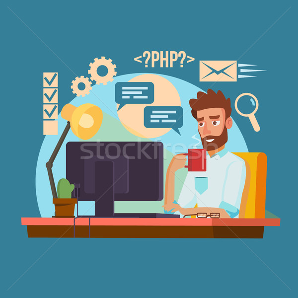 Programmer Man Vector. Classic Professional Programmer Man Coding. Software Programmer Typing Code.  Stock photo © pikepicture