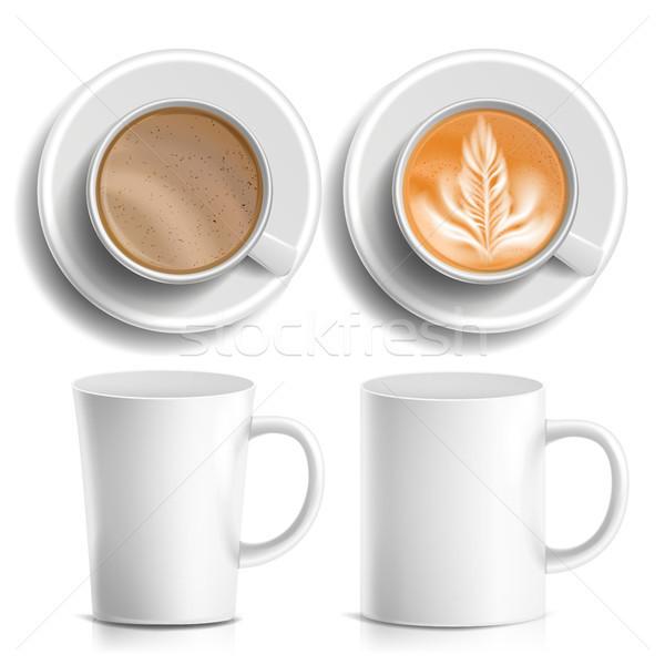 Las tazas de café vector superior vista lateral diferente café Foto stock © pikepicture