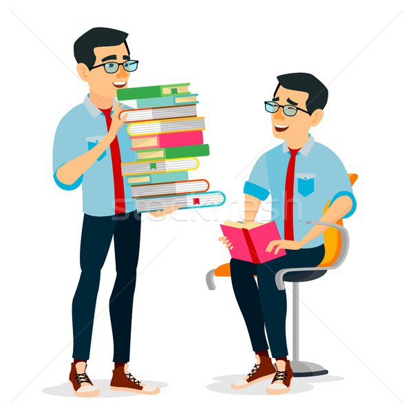 Man In Book Club Vector. Carrying Large Stack Of Books. Studying Student. Library, Academic, School, Stock photo © pikepicture