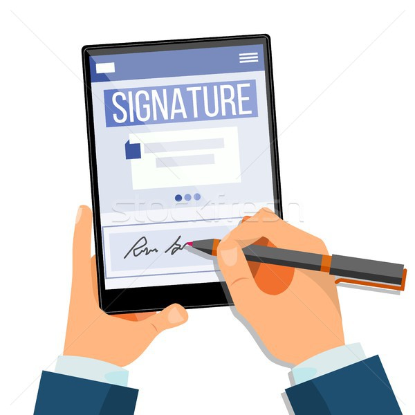 Electronic Signature Tablet Vector. Electronic Document, Contract. Digital Signature. Isolated Flat  Stock photo © pikepicture