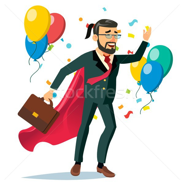 Successful Businessman Hero Vector. Business Achievement. First Office Worker. Market Competition Ra Stock photo © pikepicture