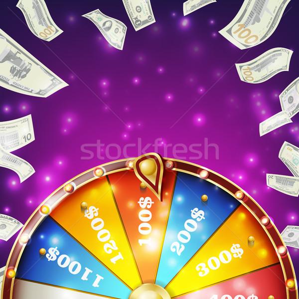Photo stock: Roue · bannière · vecteur · gagner · roulette · 3D