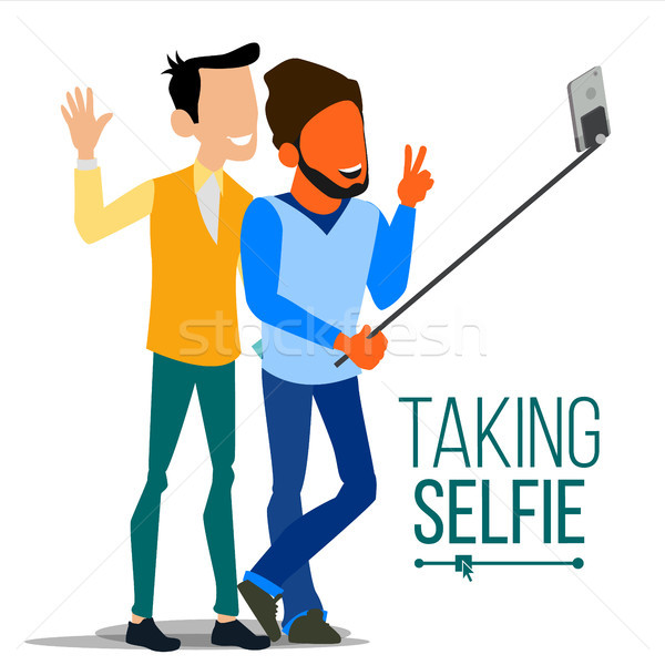 Men Taking Selfie Vector. Laughing. Photo Portrait Concept. Self Camera. Youth Concept. Modern Flat  Stock photo © pikepicture