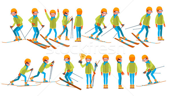 Skiing Male Vector. In Action. Man On Skis. Winter Sport. Ski Suit. Cartoon Character Illustration Stock photo © pikepicture