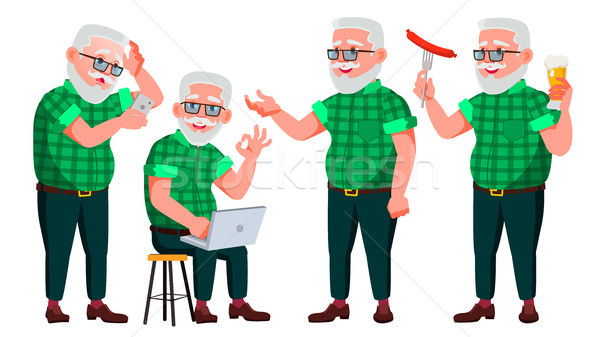 Old Man Poses Set Vector. Elderly People. Senior Person. Aged. Caucasian Retiree. Smile. Web, Poster Stock photo © pikepicture