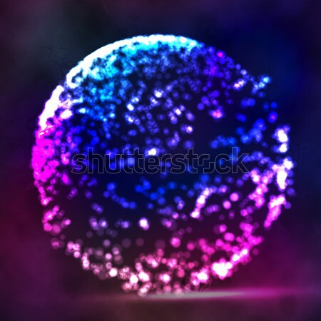 Blured Molecular Particles Glowing Dots Connection. Futuristic Technology Style. Flying Point Debris Stock photo © pikepicture