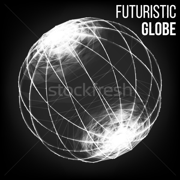 Stock photo: Futuristic Technology Style. Flying Point Debrises. Blured Molecular Particles Glowing Dots Connecti