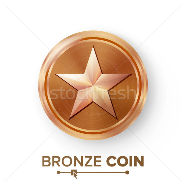 Game Bronze Coin Vector With Star. Realistic Bronze Achievement Icon Illustration. For Web, Video Ga Stock photo © pikepicture