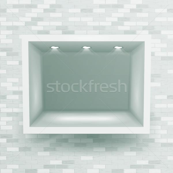 Montrent fenêtre niche mur de briques vecteur vide Photo stock © pikepicture