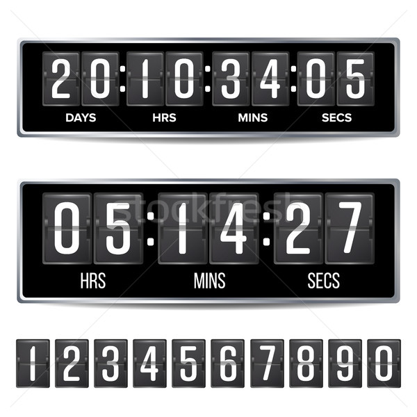 Flip Countdown Timer Vector. Analog Black Digital Scoreboard Template. With Days, Hours, Minutes, Se Stock photo © pikepicture