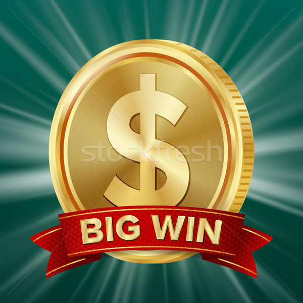 Big Win Banner. Background For Online Casino, Gambling Club, Poker, Billboard. Gold Coins Jackpot Il Stock photo © pikepicture