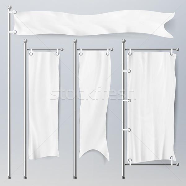 Blanco vector banderas establecer azul 3D Foto stock © pikepicture