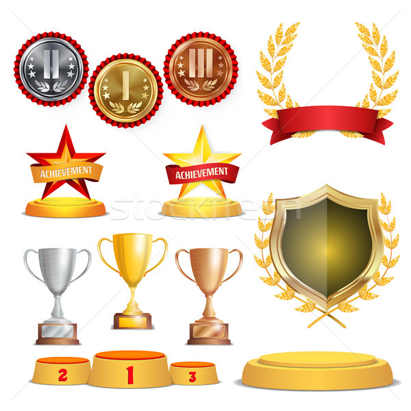 Trophy Awards Cups, Golden Laurel Wreath With Red Ribbon And Gold Shield. Realistic Golden, Silver,  Stock photo © pikepicture