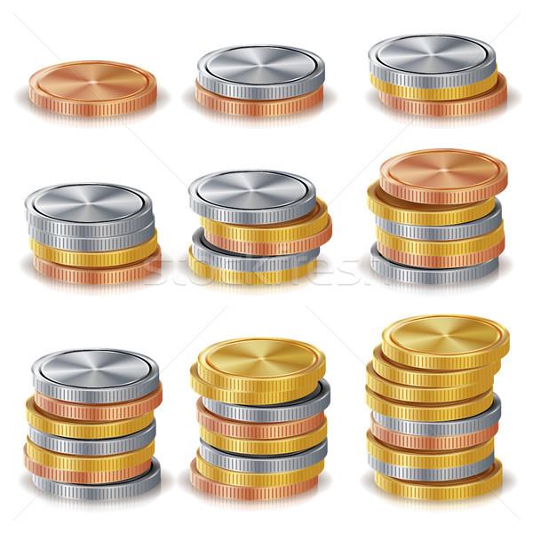 Złota srebrny brąz miedź monet wektora Zdjęcia stock © pikepicture