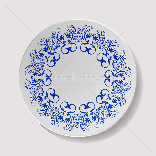 Realistic Plate Vector. Closeup Porcelain Tableware Isolated. Ceramic Kitchen Dish Top View. Cooking Stock photo © pikepicture