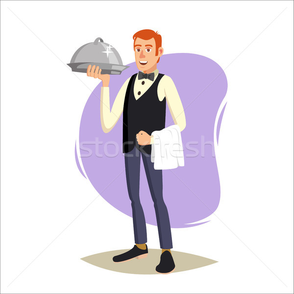 Restaurant Waiter Vector. Classic Waiter Takes The Order. Isolated Flat Cartoon Character Illustrati Stock photo © pikepicture