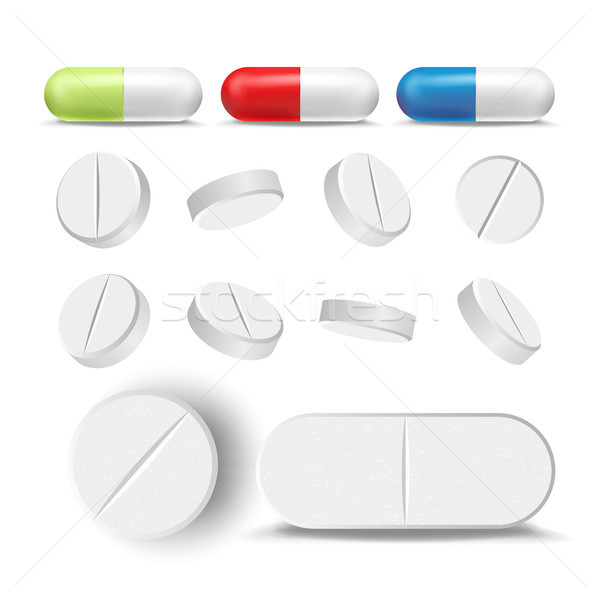Capsule pillen drugs ingesteld vector farmaceutisch Stockfoto © pikepicture