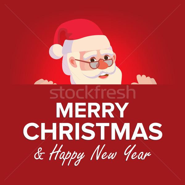 Stock fotó: Vidám · karácsony · üdvözlőlap · mikulás · vektor · hely