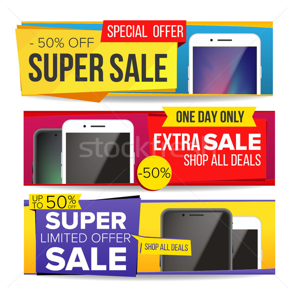 Sale Banner Set Vector. Up To 50 Percent Off. Smart Phone. Discount, Special Offer Banner. Advertisi Stock photo © pikepicture