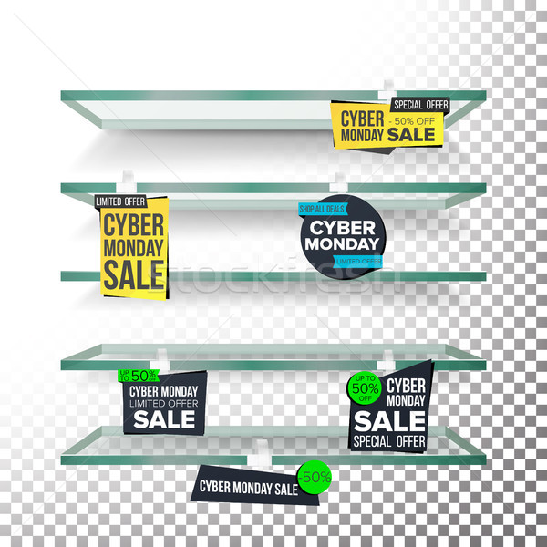 Empty Supermarket Shelves, Cyber Monday Sale Wobblers Vector. Price Tag Labels. November Big Sale Ba Stock photo © pikepicture