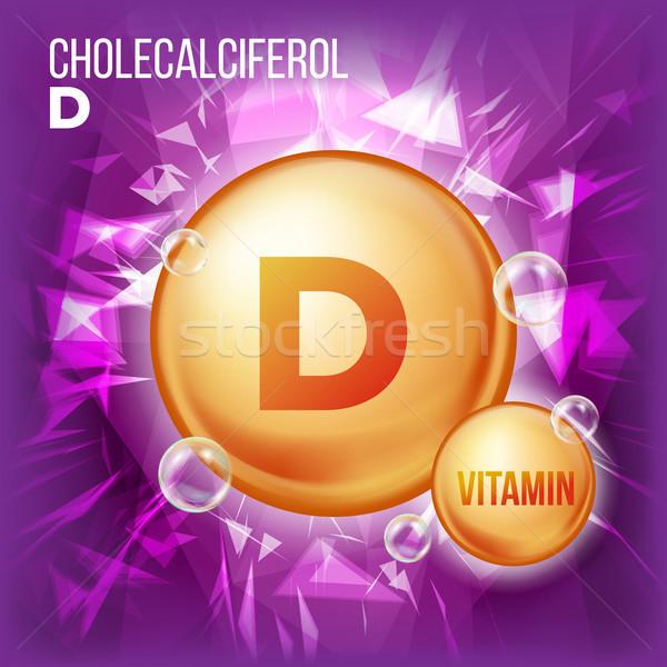 Vitamin D Cholecalciferol Vector. Vitamin Gold Oil Pill Icon. Organic Vitamin Gold Pill Icon. 3D Vit Stock photo © pikepicture