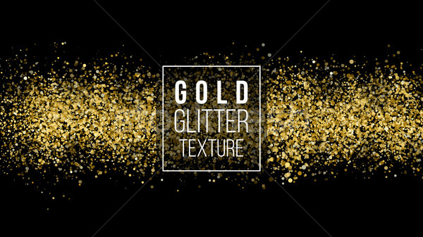 Stock photo: Gold Glitter Texture On A Black Background. Holiday Background. Golden Explosion Of Confetti. Golden