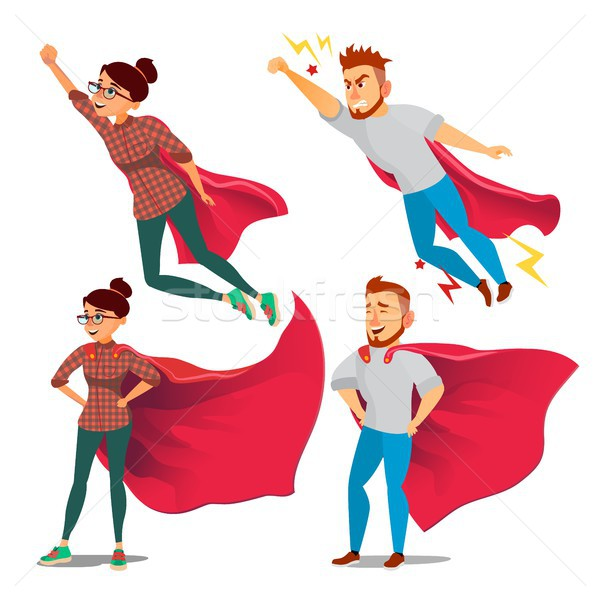 Super Businesswoman Character Vector. Achievement Victory Concept. Successful Superhero Business Per Stock photo © pikepicture
