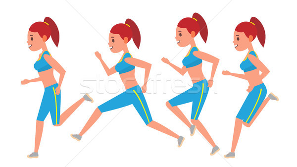 Female Running Vector. Animation Frames Set. Sport Athlete Fitness Character. Marathon Road Race Run Stock photo © pikepicture