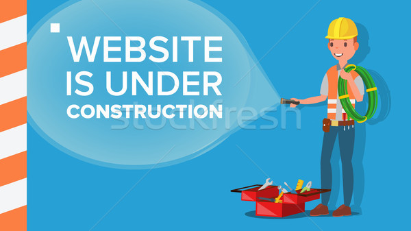 Website Under Construction Vector. Error Website Page. Coming Soon. Flat Illustration Stock photo © pikepicture