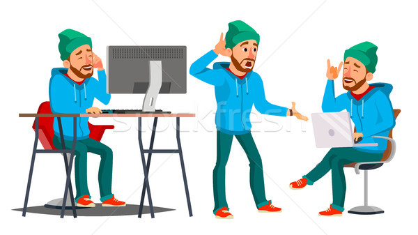 Business Man Character Vector. Working Man. Bearded. Environment Process Creative Studio. Male Worke Stock photo © pikepicture