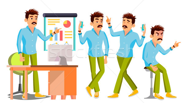 Business Man Character Vector. Working Male. Environment Process. Start Up. Casual Clothes. Worker.  Stock photo © pikepicture