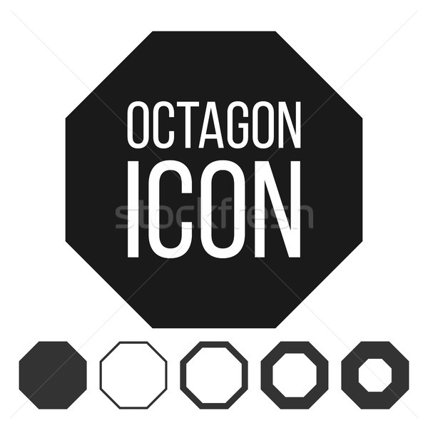 Octagon Icon Vector. 8 Eight Sided Symbol. Geometry Chart. Octagonal Diagram Sign. Polygon Pictogram Stock photo © pikepicture