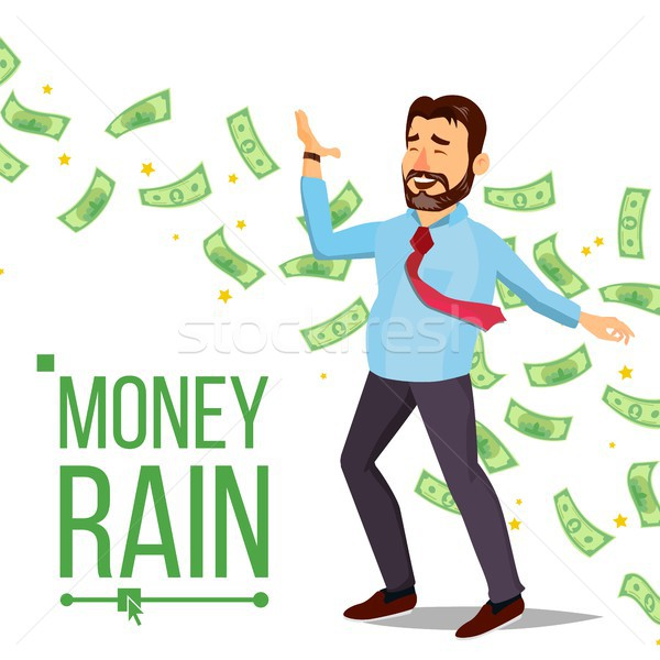 Dollar Rain Businessman Vector. Manager And Under Money Rain. Cash Money Shower. Isolated Flat Carto Stock photo © pikepicture
