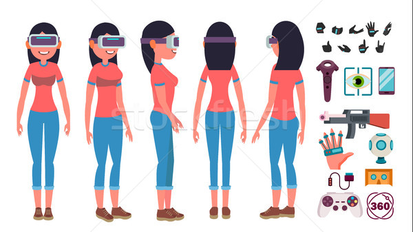 Woman In Virtual Reality Glasses Vector. Cyberspace Concept. 3D VR Glasses. Poses. Flat Illustration Stock photo © pikepicture
