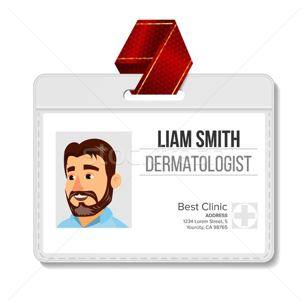 Dermatologist identificatie badge vector man plastic Stockfoto © pikepicture