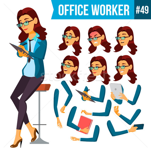 Office Worker Vector.Woman. Secretary, Accountant. Successful Officer, Clerk, Servant. Adult Busines Stock photo © pikepicture