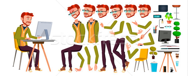 Office Worker Vector. Red Head, Ginger. Animation Creation Set. Adult Business Male. Successful Corp Stock photo © pikepicture