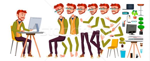 Kantoormedewerker vector Rood hoofd gember animatie Stockfoto © pikepicture