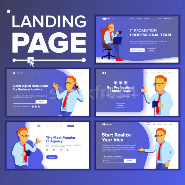 Landing Set Main Web Page Design Vector. Website Business Concept. Template. Working Team. Corporate Stock photo © pikepicture