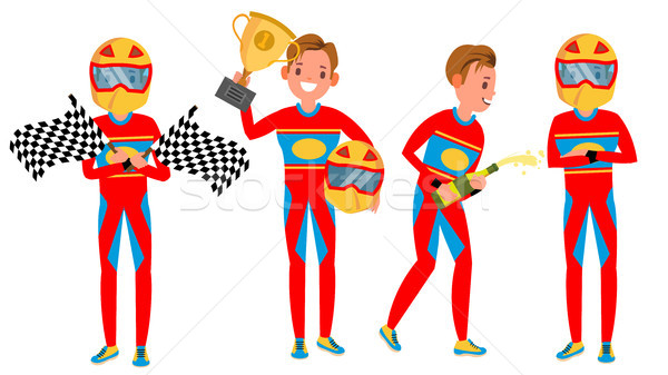 Sport Car Racer Male Vector. Racing Championship. Red Uniform. Poses. In Action. Cartoon Character I Stock photo © pikepicture