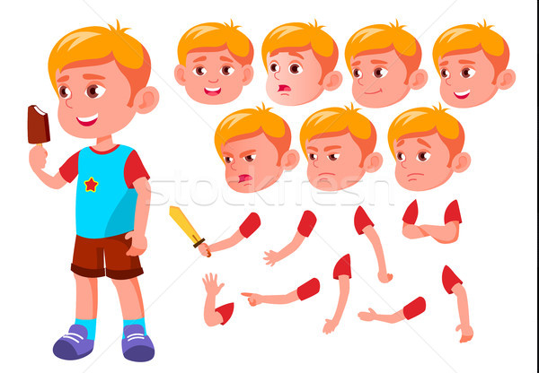 Boy, Child, Kid, Teen Vector. Leisure. Educational, Study. Face Emotions, Various Gestures. Animatio Stock photo © pikepicture