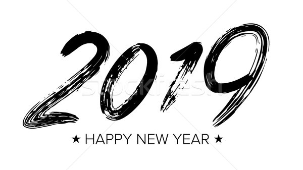 2019 Sign Vector. Grunge Calligraphy. Happy New Year. Brush. Design Element. Black Numbers Isolated  Stock photo © pikepicture
