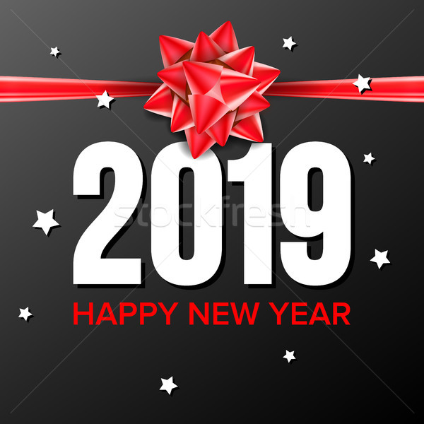 2019 Happy New Year Background Vector. Sign 2019. Bow. Greeting Card Design. Black, Red. Illustratio Stock photo © pikepicture