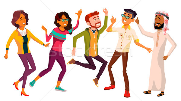 Dancing People Set Vector. Funny And Friendly. Joyful Emotions. Isolated Flat Cartoon Illustration Stock photo © pikepicture