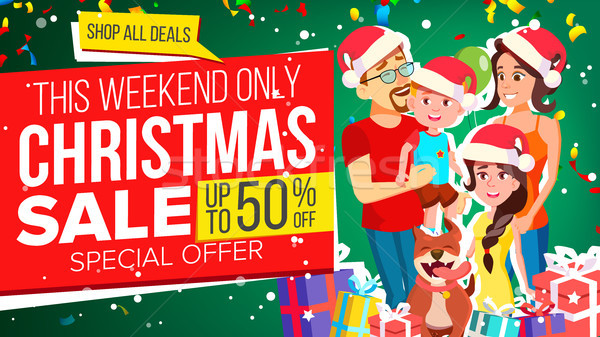 Christmas Sale Banner Vector. Special Offer. Holidays Announcement. Illustration Stock photo © pikepicture
